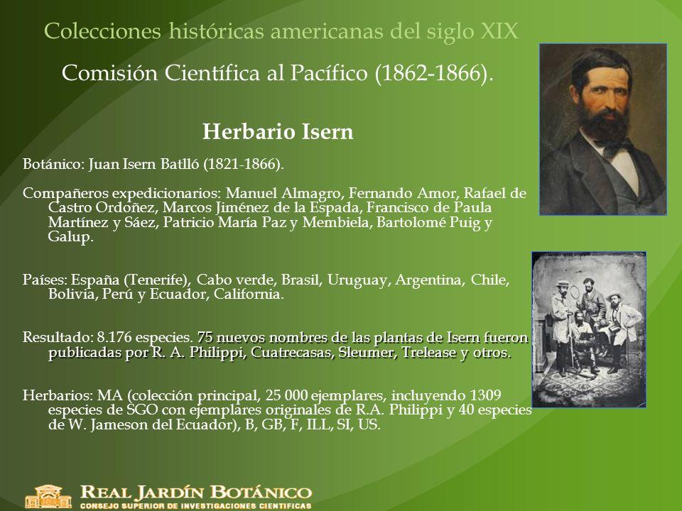Colecciones históricas americanas del siglo XIX Comisión Científica al Pacífico (1862-1866). Herbario Isern Botánico: Juan Isern Batlló (1821-1866). C