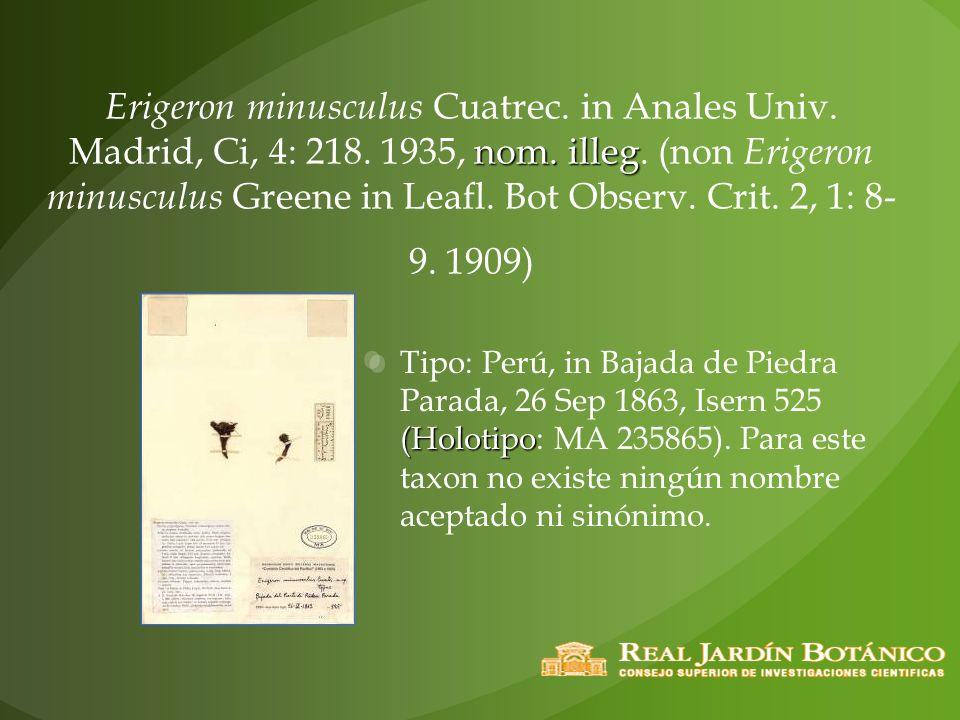 nom. illeg Erigeron minusculus Cuatrec. in Anales Univ. Madrid, Ci, 4: 218. 1935, nom. illeg. (non Erigeron minusculus Greene in Leafl. Bot Observ. Cr