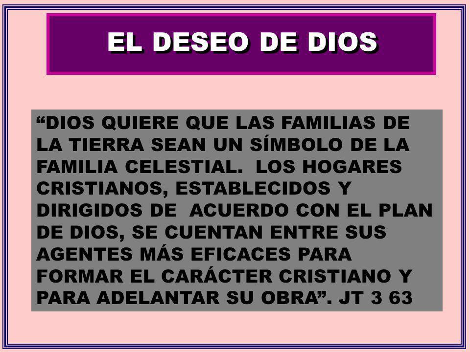 EL DESEO DE DIOS DIOS QUIERE QUE LAS FAMILIAS DE LA TIERRA SEAN UN SÍMBOLO DE LA FAMILIA CELESTIAL. LOS HOGARES CRISTIANOS, ESTABLECIDOS Y DIRIGIDOS D
