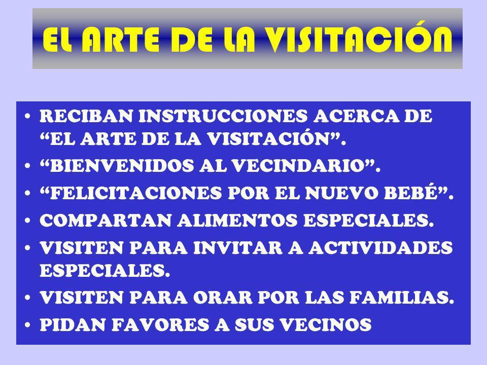 RECIBAN INSTRUCCIONES ACERCA DE EL ARTE DE LA VISITACIÓN. BIENVENIDOS AL VECINDARIO. FELICITACIONES POR EL NUEVO BEBÉ. COMPARTAN ALIMENTOS ESPECIALES.