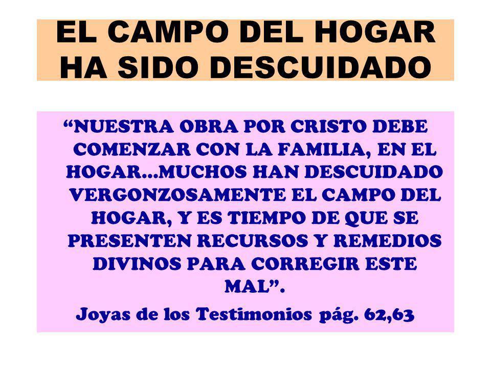 EL CAMPO DEL HOGAR HA SIDO DESCUIDADO NUESTRA OBRA POR CRISTO DEBE COMENZAR CON LA FAMILIA, EN EL HOGAR…MUCHOS HAN DESCUIDADO VERGONZOSAMENTE EL CAMPO