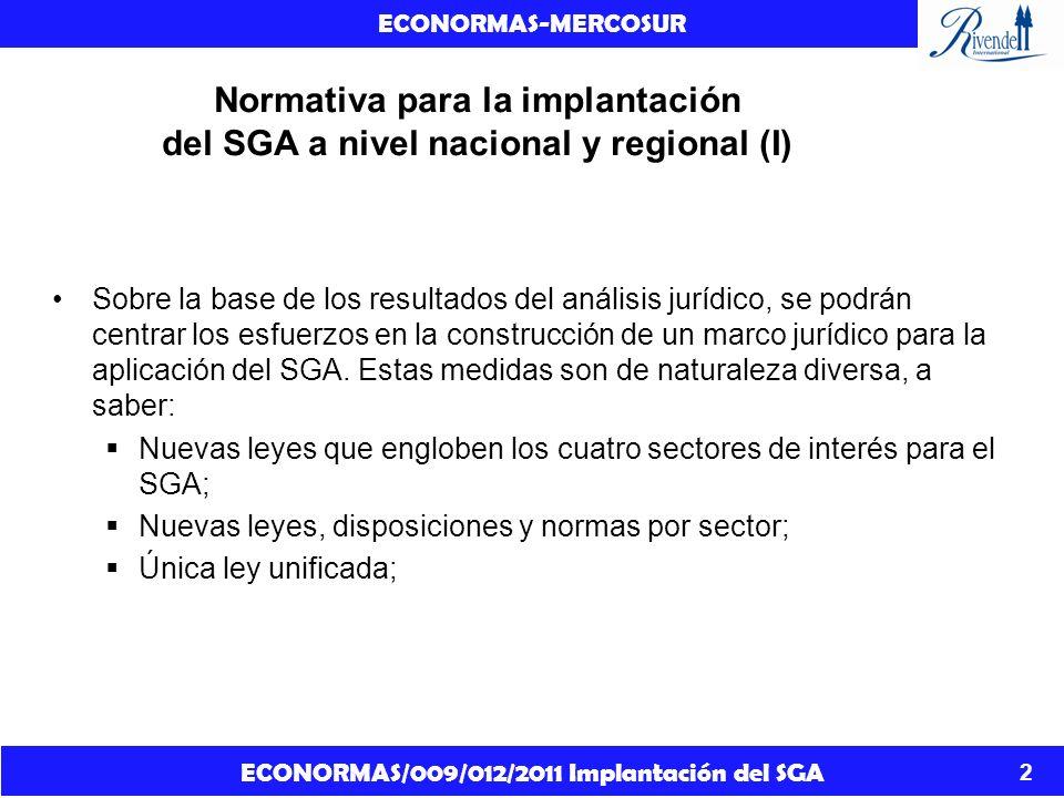 ECONORMAS/009/012/2011 Implantación del SGA ECONORMAS-MERCOSUR 3 Normativa para la implantación del SGA a nivel nacional y regional (II) Enmienda de la legislación en vigor para incorporar elementos del SGA; Enmienda de la legislación en vigor para incorporar elementos del SGA mediante referencia; Enmienda de normas con sus correspondientes reformas en la legislación (por ejemplo, para el cumplimiento y la aplicación); Unificación y enmienda de normas en vigor con sus correspondientes reformas en la legislación (por ejemplo, para el cumplimiento y la aplicación).