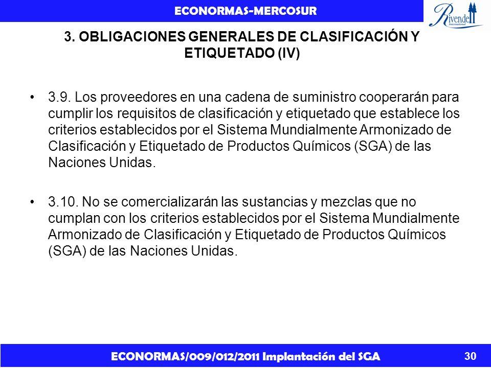 ECONORMAS/009/012/2011 Implantación del SGA ECONORMAS-MERCOSUR 30 3. OBLIGACIONES GENERALES DE CLASIFICACIÓN Y ETIQUETADO (IV) 3.9. Los proveedores en