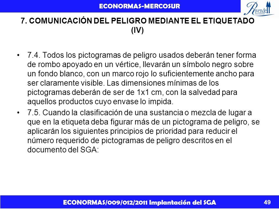 ECONORMAS/009/012/2011 Implantación del SGA ECONORMAS-MERCOSUR 49 7. COMUNICACIÓN DEL PELIGRO MEDIANTE EL ETIQUETADO (IV) 7.4. Todos los pictogramas d