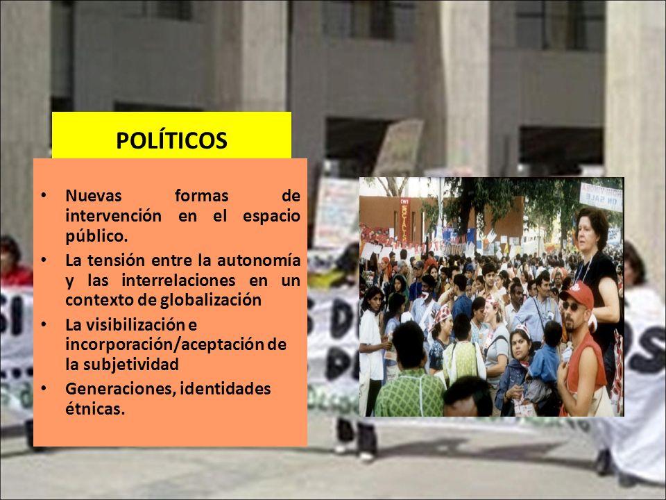 POLÍTICOS Nuevas formas de intervención en el espacio público. La tensión entre la autonomía y las interrelaciones en un contexto de globalización La