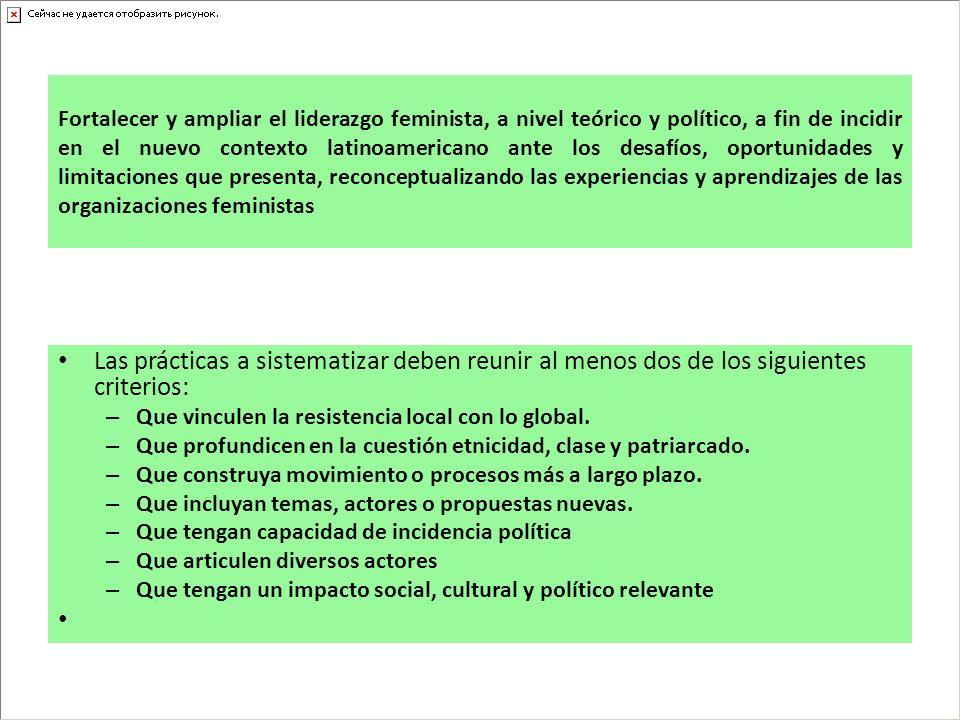 Fortalecer y ampliar el liderazgo feminista, a nivel teórico y político, a fin de incidir en el nuevo contexto latinoamericano ante los desafíos, opor