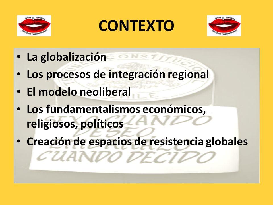 CONTEXTO La globalización Los procesos de integración regional El modelo neoliberal Los fundamentalismos económicos, religiosos, políticos Creación de