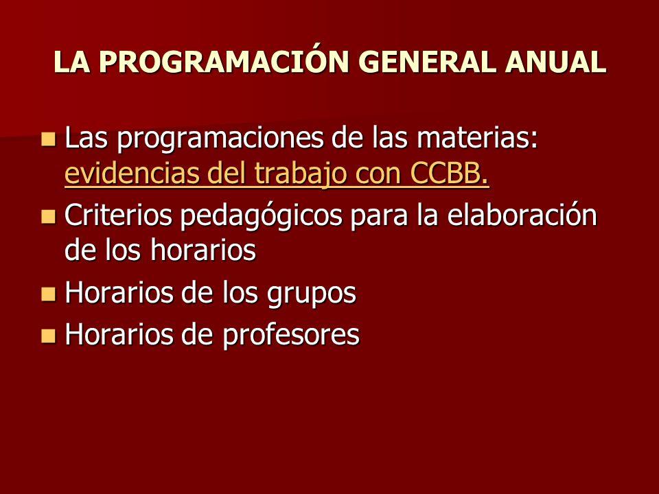LA PROGRAMACIÓN GENERAL ANUAL Las programaciones de las materias: evidencias del trabajo con CCBB. Las programaciones de las materias: evidencias del