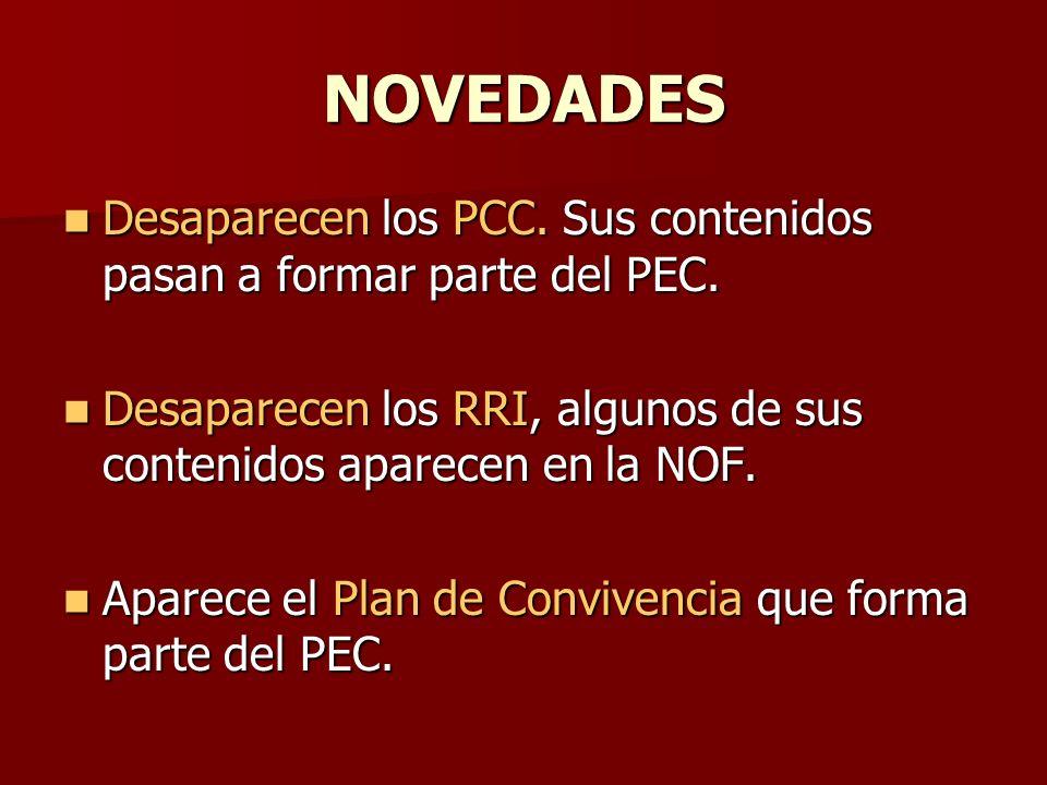NOVEDADES Desaparecen los PCC. Sus contenidos pasan a formar parte del PEC. Desaparecen los PCC. Sus contenidos pasan a formar parte del PEC. Desapare
