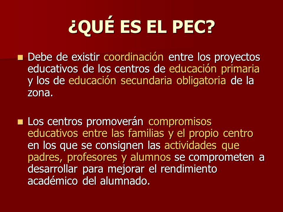 ¿QUÉ ES EL PEC? Debe de existir coordinación entre los proyectos educativos de los centros de educación primaria y los de educación secundaria obligat