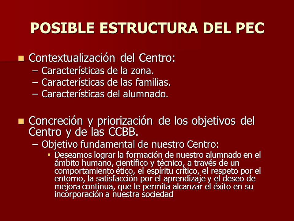 POSIBLE ESTRUCTURA DEL PEC Contextualización del Centro: Contextualización del Centro: –Características de la zona. –Características de las familias.