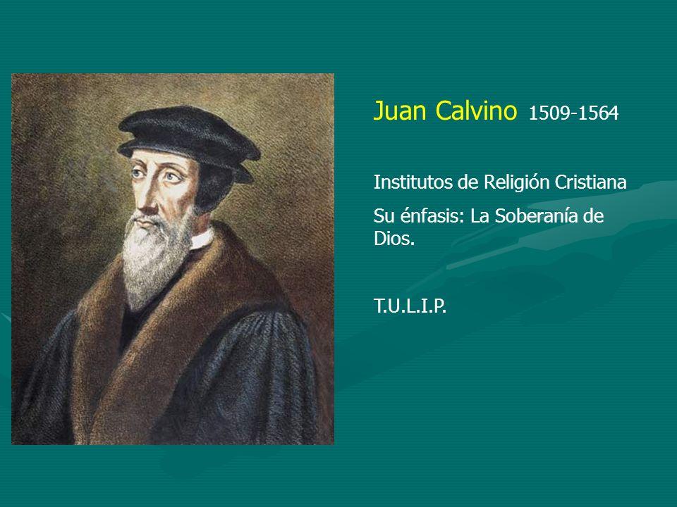 Juan Calvino 1509-1564 Institutos de Religión Cristiana Su énfasis: La Soberanía de Dios. T.U.L.I.P.
