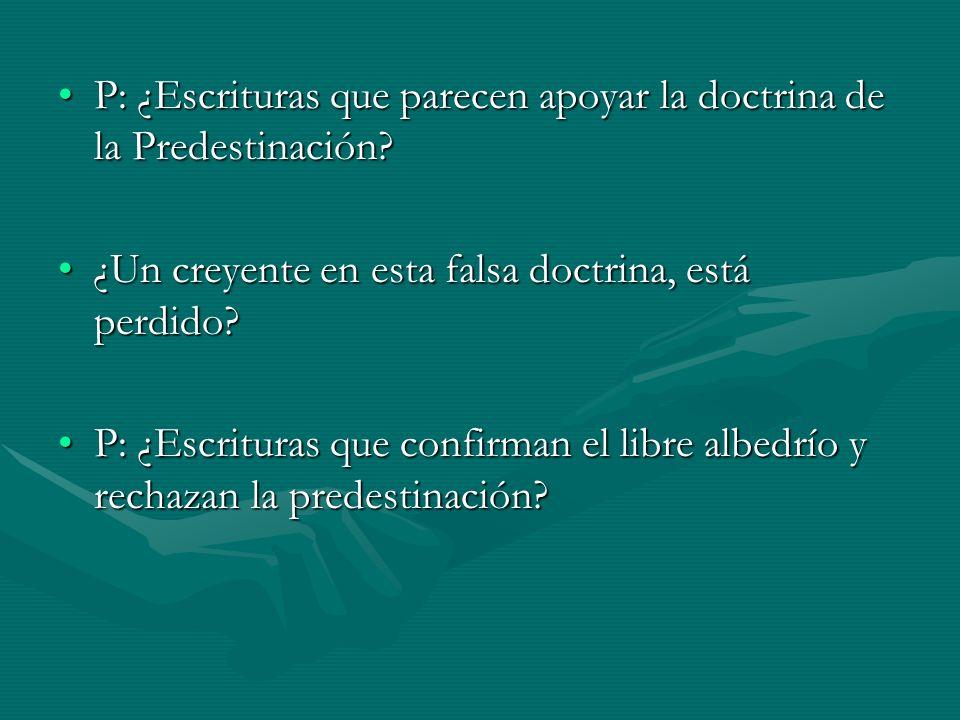 P: ¿Escrituras que parecen apoyar la doctrina de la Predestinación?P: ¿Escrituras que parecen apoyar la doctrina de la Predestinación? ¿Un creyente en