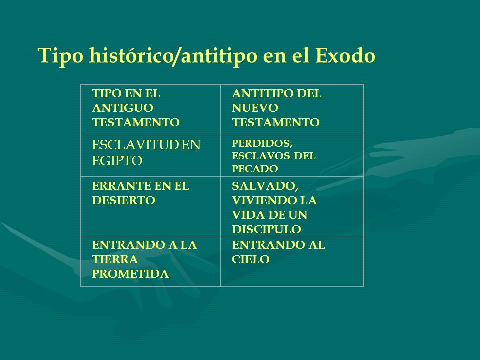 Tipo histórico/antitipo en el Exodo TIPO EN EL ANTIGUO TESTAMENTO ANTITIPO DEL NUEVO TESTAMENTO ESCLAVITUD EN EGIPTO PERDIDOS, ESCLAVOS DEL PECADO ERR