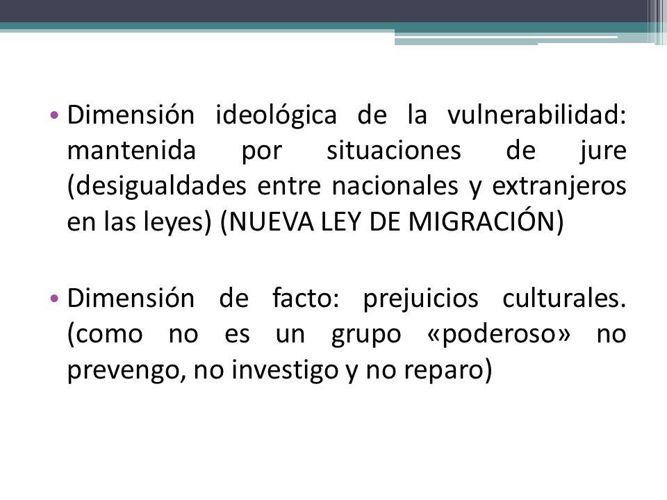 Dimensión ideológica de la vulnerabilidad: mantenida por situaciones de jure (desigualdades entre nacionales y extranjeros en las leyes) (NUEVA LEY DE