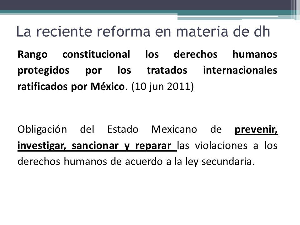 La reciente reforma en materia de dh Rango constitucional los derechos humanos protegidos por los tratados internacionales ratificados por México. (10