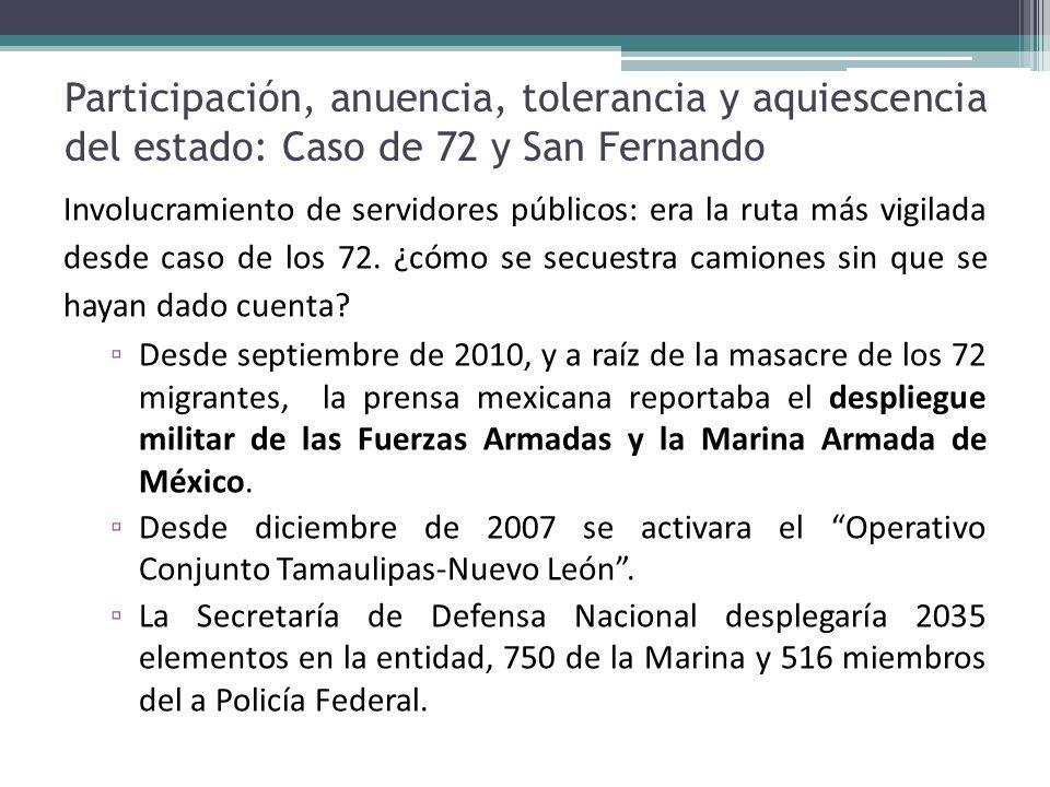 Participación, anuencia, tolerancia y aquiescencia del estado: Caso de 72 y San Fernando Involucramiento de servidores públicos: era la ruta más vigil