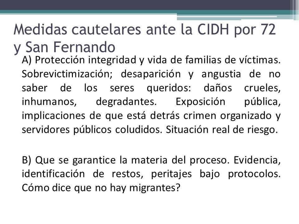 Medidas cautelares ante la CIDH por 72 y San Fernando A) Protección integridad y vida de familias de víctimas. Sobrevictimización; desaparición y angu