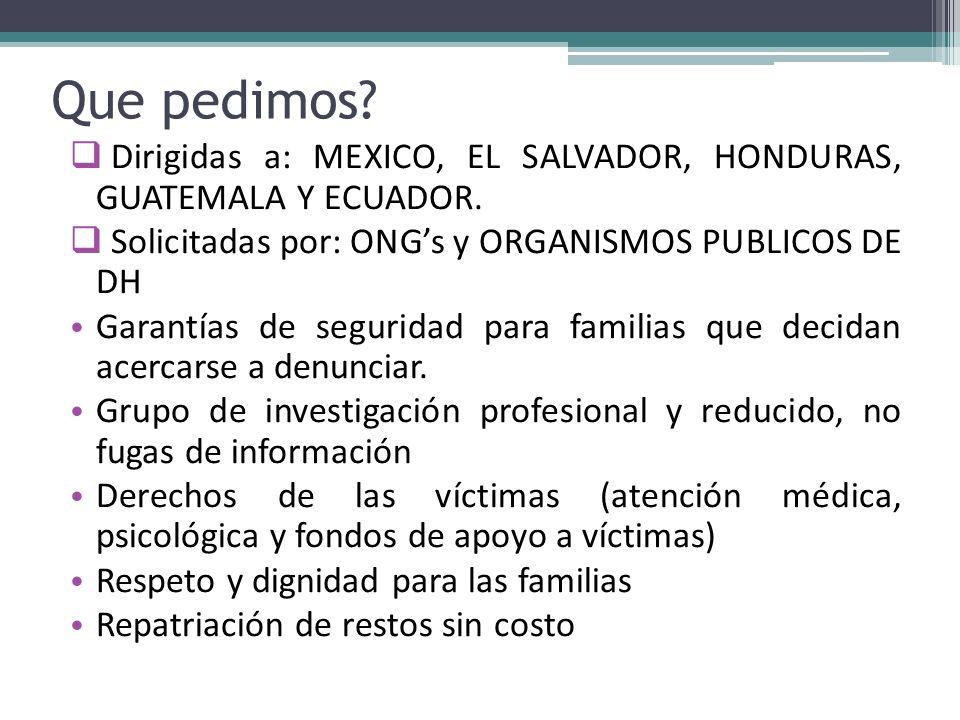 Que pedimos? Dirigidas a: MEXICO, EL SALVADOR, HONDURAS, GUATEMALA Y ECUADOR. Solicitadas por: ONGs y ORGANISMOS PUBLICOS DE DH Garantías de seguridad