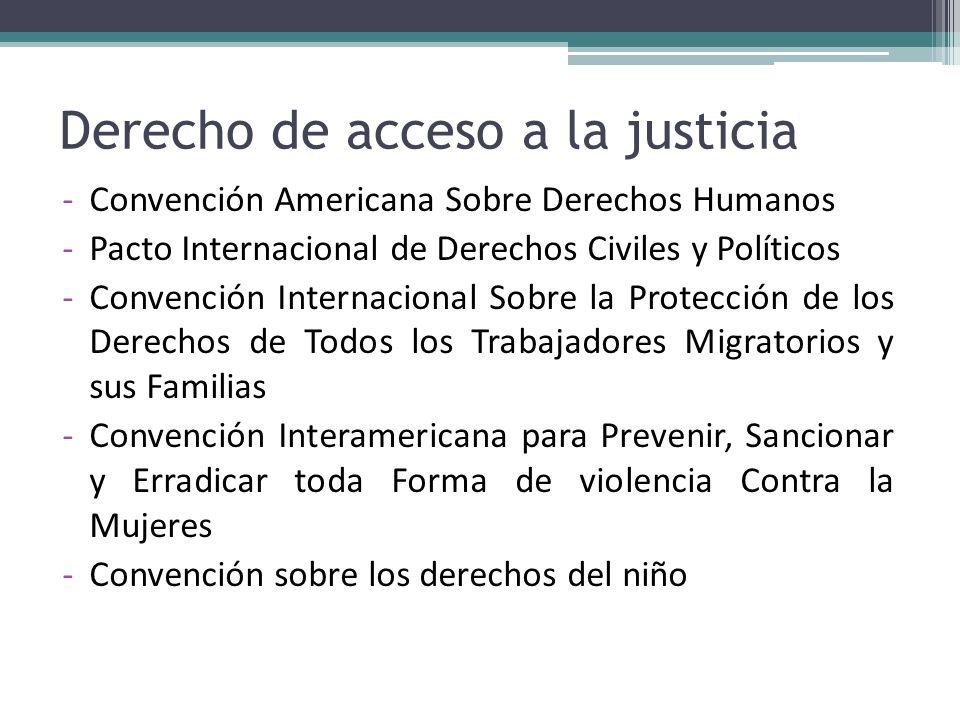 Derecho de acceso a la justicia -Convención Americana Sobre Derechos Humanos -Pacto Internacional de Derechos Civiles y Políticos -Convención Internac