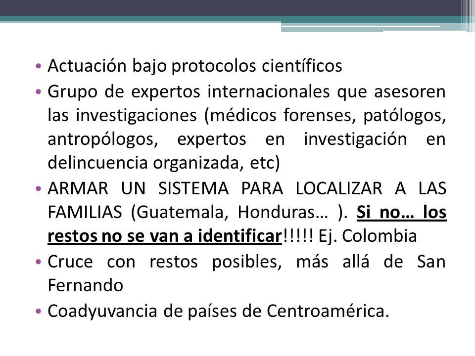 Actuación bajo protocolos científicos Grupo de expertos internacionales que asesoren las investigaciones (médicos forenses, patólogos, antropólogos, e