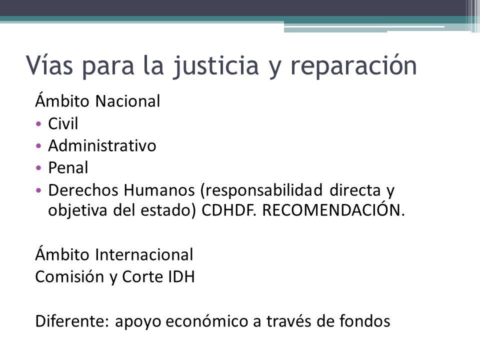 Vías para la justicia y reparación Ámbito Nacional Civil Administrativo Penal Derechos Humanos (responsabilidad directa y objetiva del estado) CDHDF.