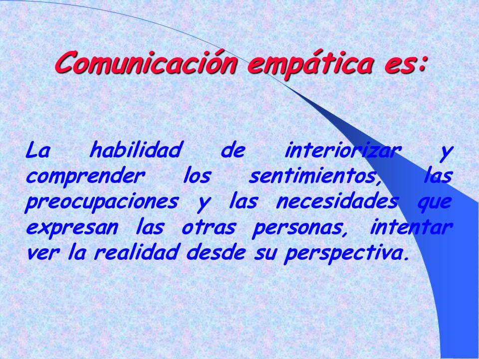 Comunicación empática es: La habilidad de interiorizar y comprender los sentimientos, las preocupaciones y las necesidades que expresan las otras personas, intentar ver la realidad desde su perspectiva.