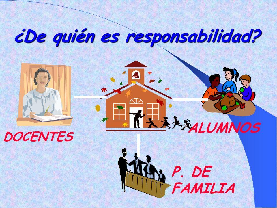 ¿De quién es responsabilidad? DOCENTES P. DE FAMILIA ALUMNOS