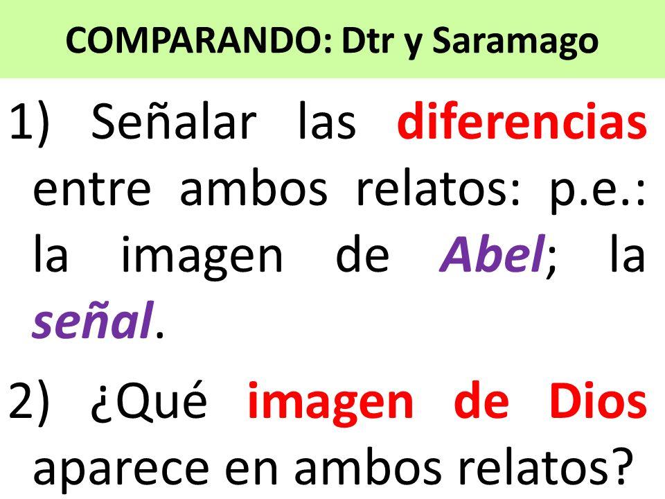 COMPARANDO: Dtr y Saramago 1) Señalar las diferencias entre ambos relatos: p.e.: la imagen de Abel; la señal. 2) ¿Qué imagen de Dios aparece en ambos