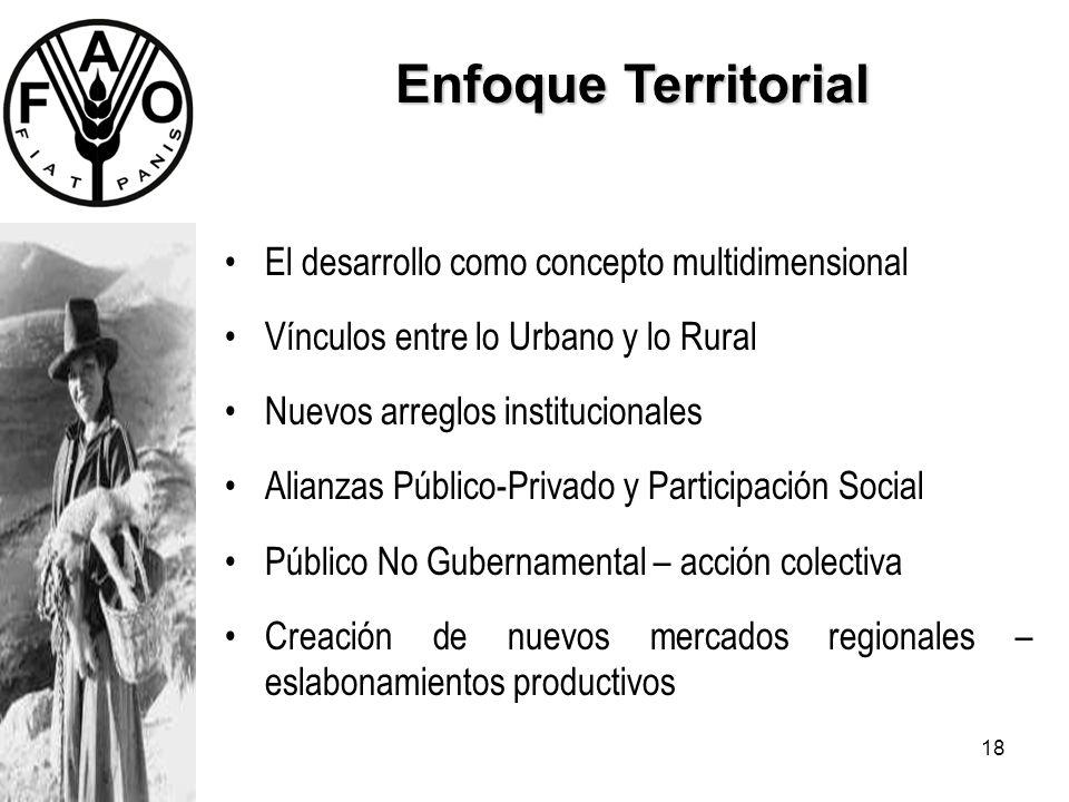 18 Enfoque Territorial El desarrollo como concepto multidimensional Vínculos entre lo Urbano y lo Rural Nuevos arreglos institucionales Alianzas Públi
