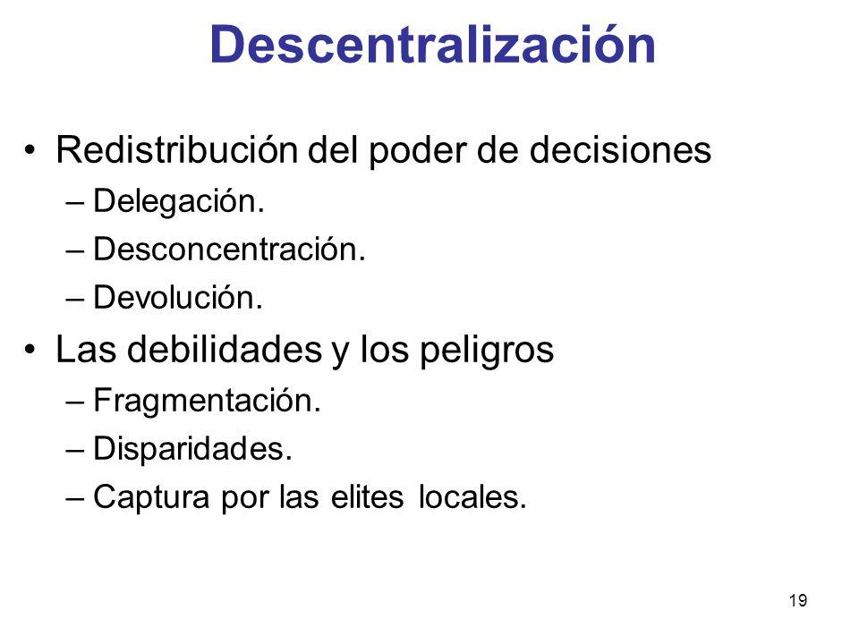 19 Redistribución del poder de decisiones –Delegación. –Desconcentración. –Devolución. Las debilidades y los peligros –Fragmentación. –Disparidades. –