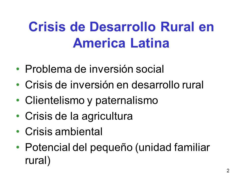 2 Crisis de Desarrollo Rural en America Latina Problema de inversión social Crisis de inversión en desarrollo rural Clientelismo y paternalismo Crisis