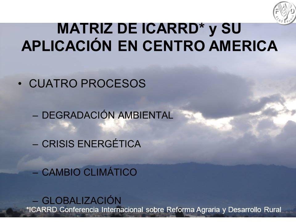 6 MATRIZ DE ICARRD* y SU APLICACIÓN EN CENTRO AMERICA CUATRO PROCESOS –DEGRADACIÓN AMBIENTAL –CRISIS ENERGÉTICA –CAMBIO CLIMÁTICO –GLOBALIZACIÓN *ICAR