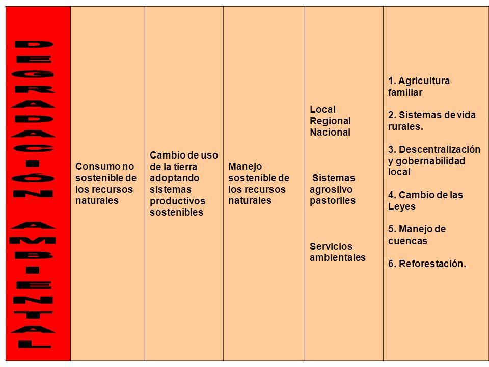 7 Consumo no sostenible de los recursos naturales Cambio de uso de la tierra adoptando sistemas productivos sostenibles Manejo sostenible de los recur
