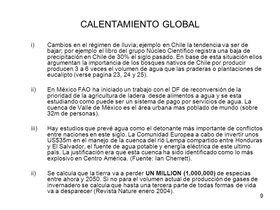 9 CALENTAMIENTO GLOBAL i)Cambios en el régimen de lluvia; ejemplo en Chile la tendencia va ser de bajar; por ejemplo el libro del grupo Núcleo Científ