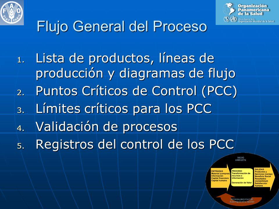Flujo General del Proceso 1. Lista de productos, líneas de producción y diagramas de flujo 2. Puntos Críticos de Control (PCC) 3. Límites críticos par