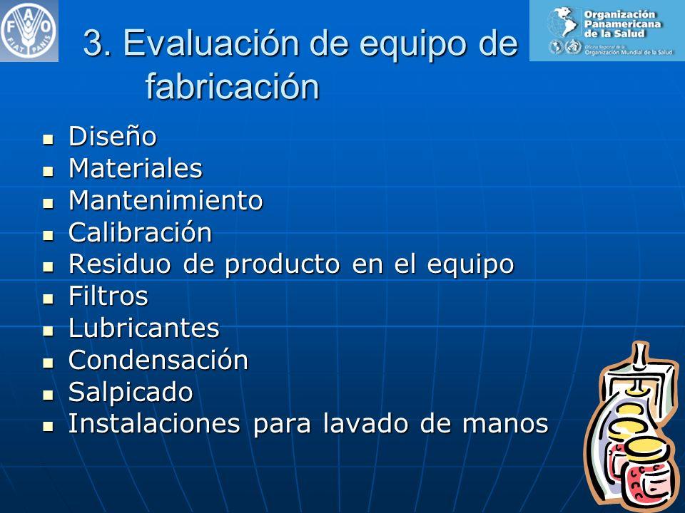 3. Evaluación de equipo de fabricación Diseño Diseño Materiales Materiales Mantenimiento Mantenimiento Calibración Calibración Residuo de producto en