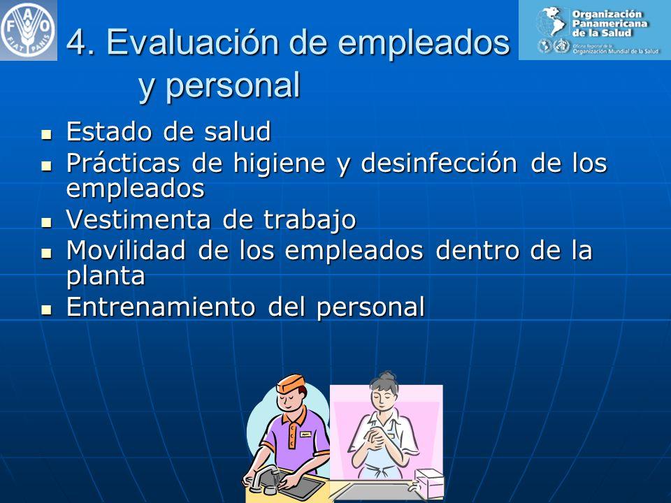 4. Evaluación de empleados y personal Estado de salud Estado de salud Prácticas de higiene y desinfección de los empleados Prácticas de higiene y desi