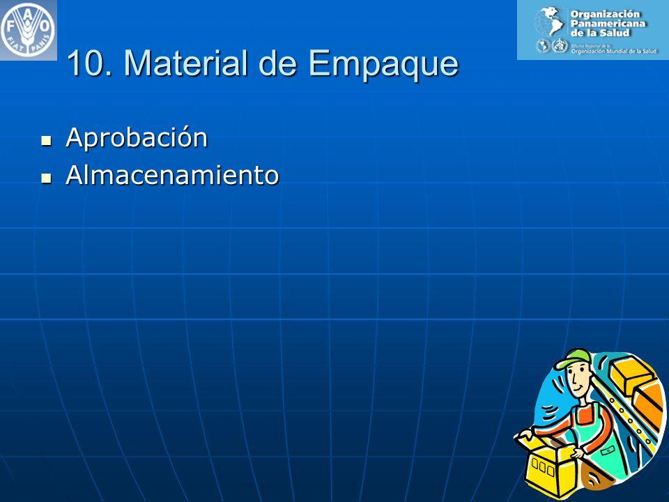 10. Material de Empaque Aprobación Aprobación Almacenamiento Almacenamiento