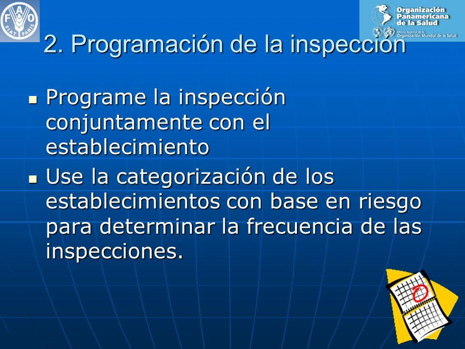 2. Programación de la inspección Programe la inspección conjuntamente con el establecimiento Programe la inspección conjuntamente con el establecimien