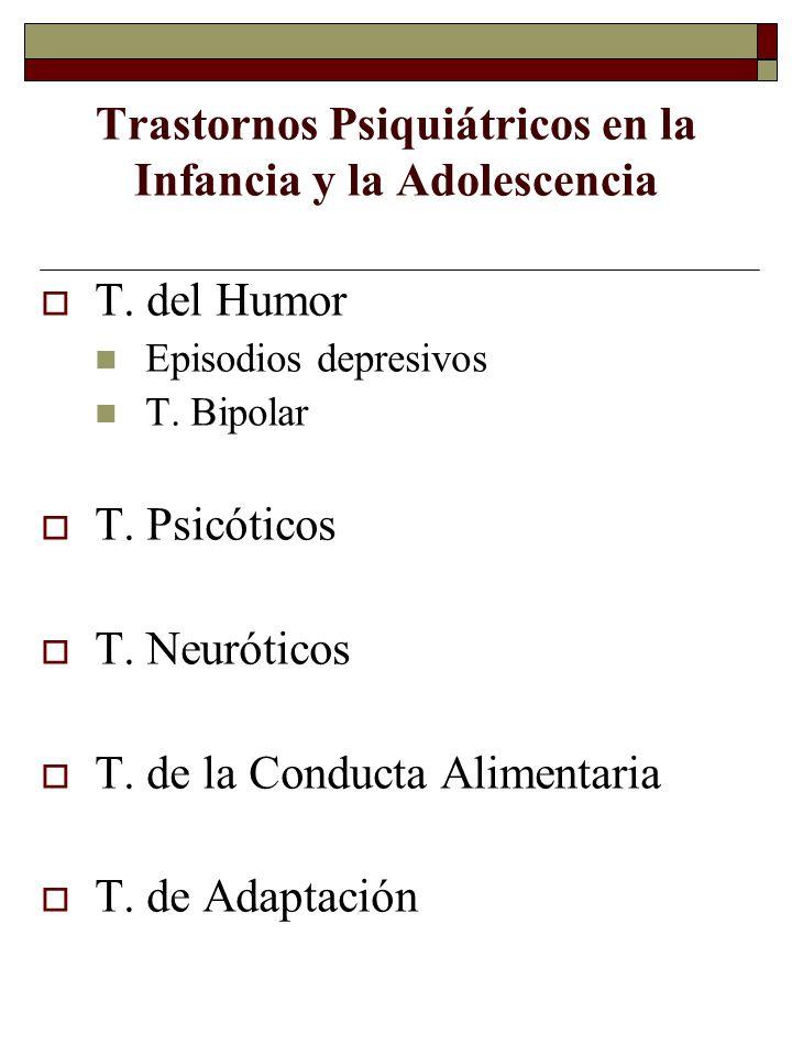 Trastornos Psiquiátricos en la Infancia y la Adolescencia T. del Humor Episodios depresivos T. Bipolar T. Psicóticos T. Neuróticos T. de la Conducta A