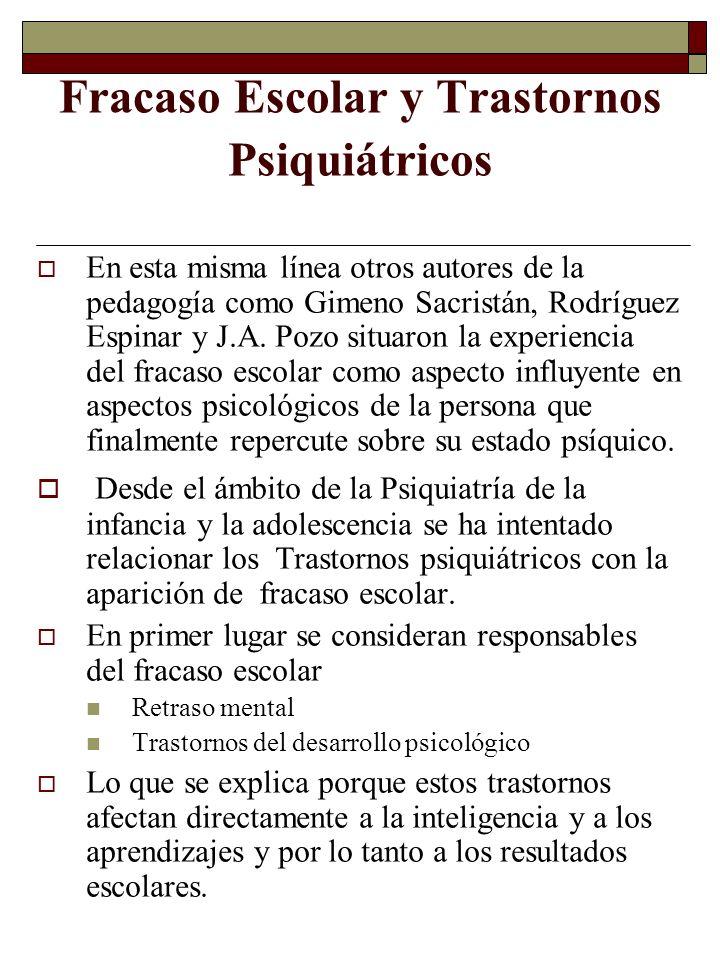 Fracaso Escolar y Trastornos Psiquiátricos En esta misma línea otros autores de la pedagogía como Gimeno Sacristán, Rodríguez Espinar y J.A. Pozo situ