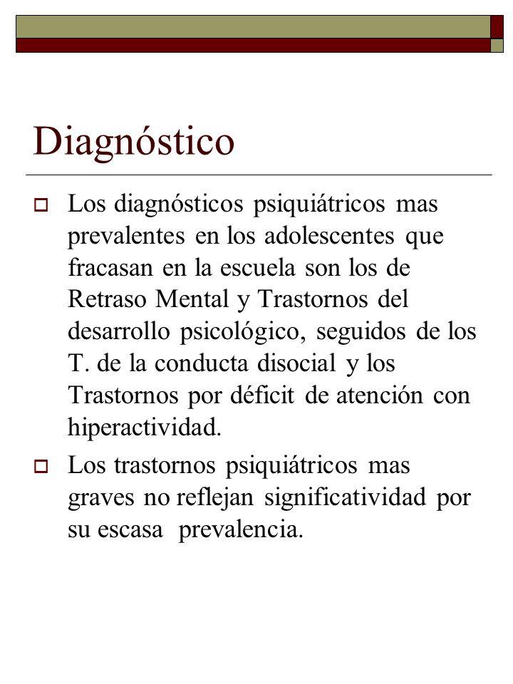 Diagnóstico Los diagnósticos psiquiátricos mas prevalentes en los adolescentes que fracasan en la escuela son los de Retraso Mental y Trastornos del d