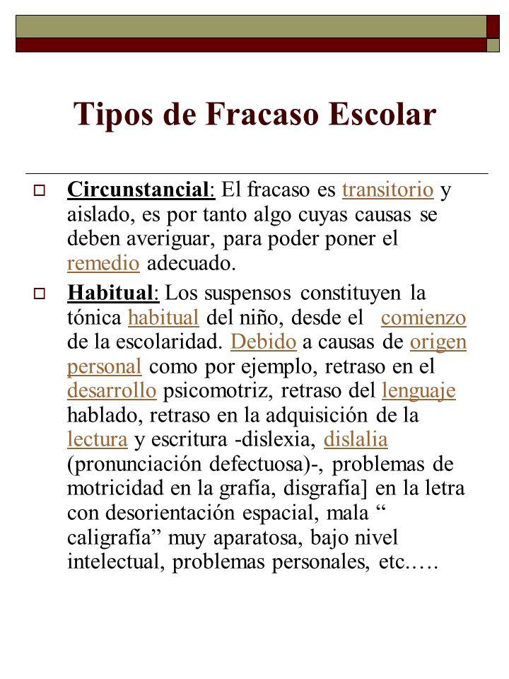 Fracaso Escolar y Trastornos Psiquiátricos En esta misma línea otros autores de la pedagogía como Gimeno Sacristán, Rodríguez Espinar y J.A.