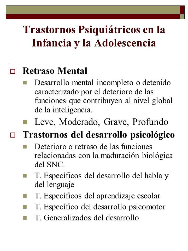 Trastornos Psiquiátricos en la Infancia y la Adolescencia Retraso Mental Desarrollo mental incompleto o detenido caracterizado por el deterioro de las