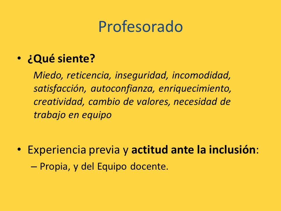 Profesorado ¿Qué siente? Miedo, reticencia, inseguridad, incomodidad, satisfacción, autoconfianza, enriquecimiento, creatividad, cambio de valores, ne