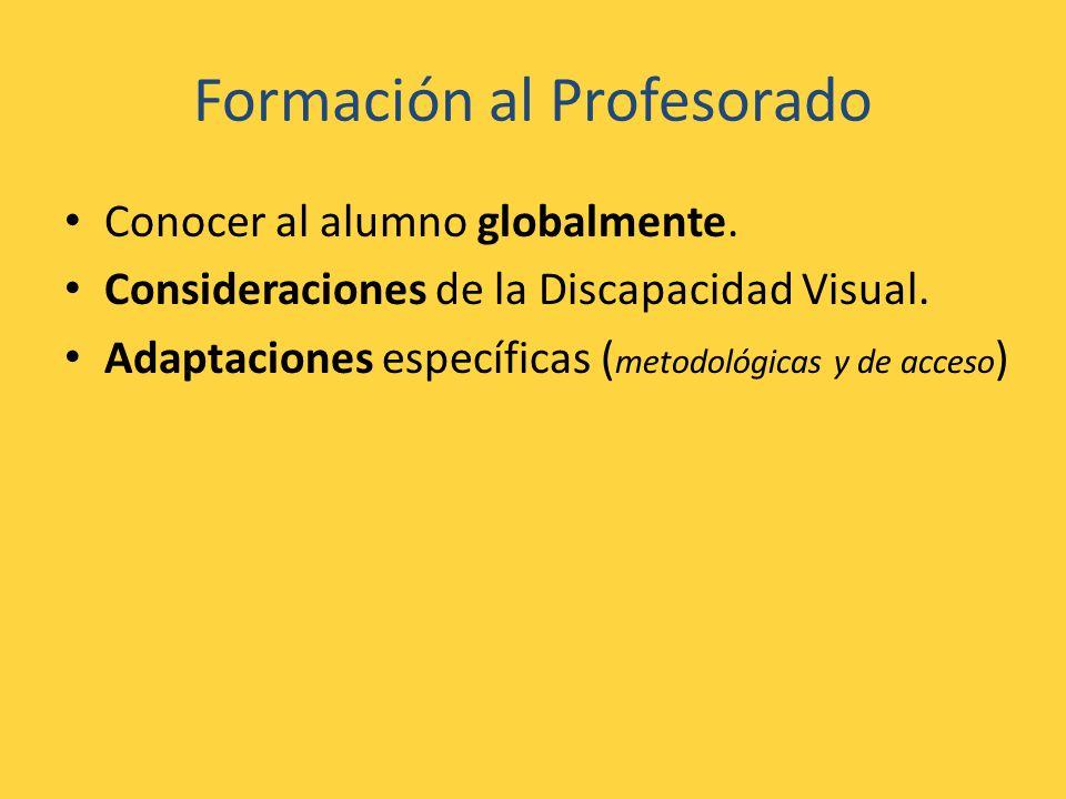 Formación al Profesorado Conocer al alumno globalmente. Consideraciones de la Discapacidad Visual. Adaptaciones específicas ( metodológicas y de acces
