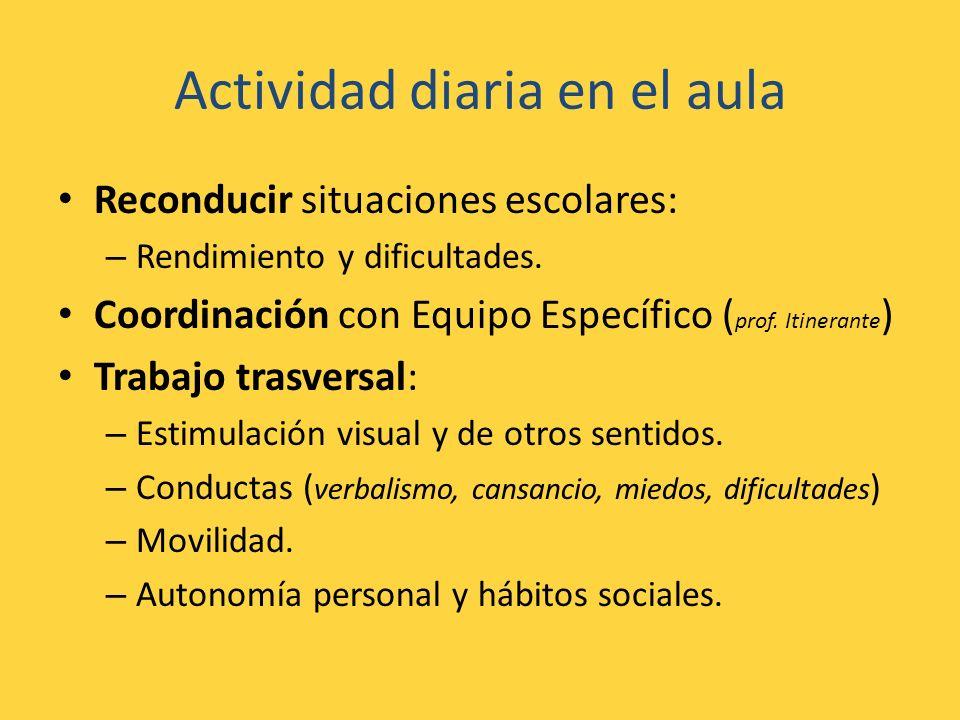 Actividad diaria en el aula Reconducir situaciones escolares: – Rendimiento y dificultades. Coordinación con Equipo Específico ( prof. Itinerante ) Tr