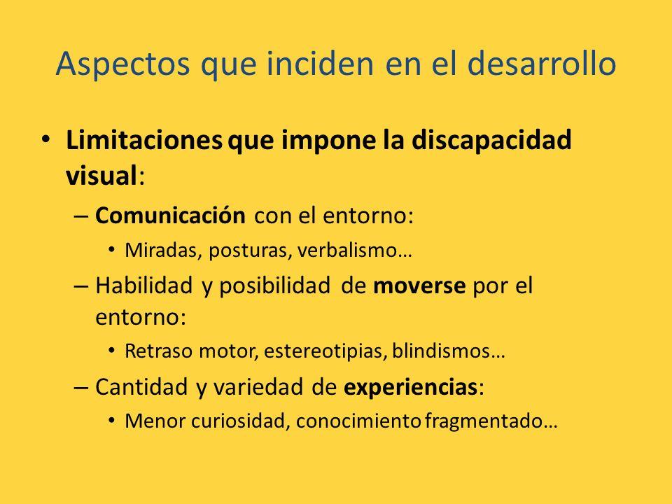 Aspectos que inciden en el desarrollo Limitaciones que impone la discapacidad visual: – Comunicación con el entorno: Miradas, posturas, verbalismo… –