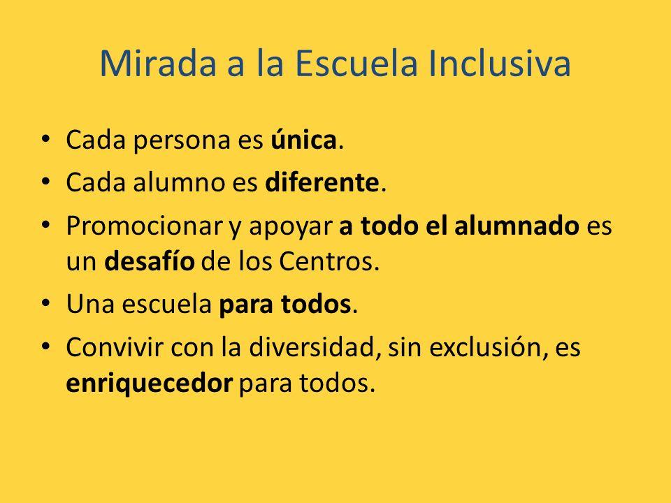 Mirada a la Escuela Inclusiva Cada persona es única. Cada alumno es diferente. Promocionar y apoyar a todo el alumnado es un desafío de los Centros. U